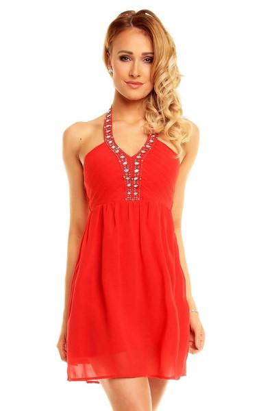 12395ff7ee89 Dámske vykladané šaty - červené