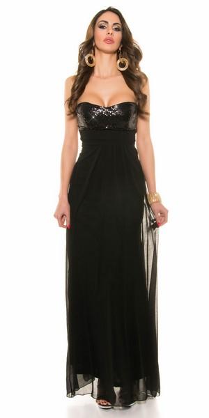 ab7001882613 Dlhé trendy šaty s flitrami - čierne