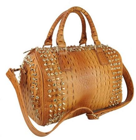 Trendy vybíjaná kabelka - hnedá
