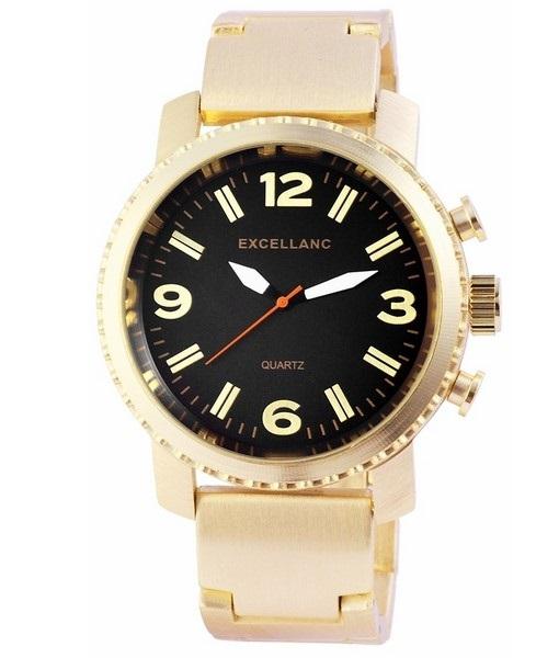 Pánske kovové hodinky Excellanc zlaté Black fd8c6d5001