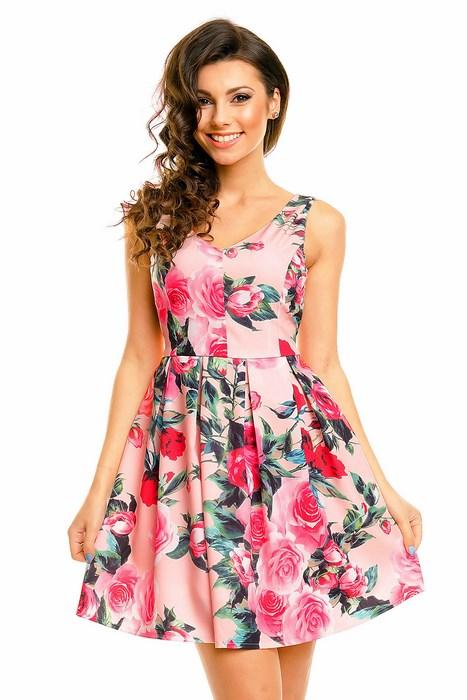 3d2f415bb5 Dámske kvietkované šaty ružové