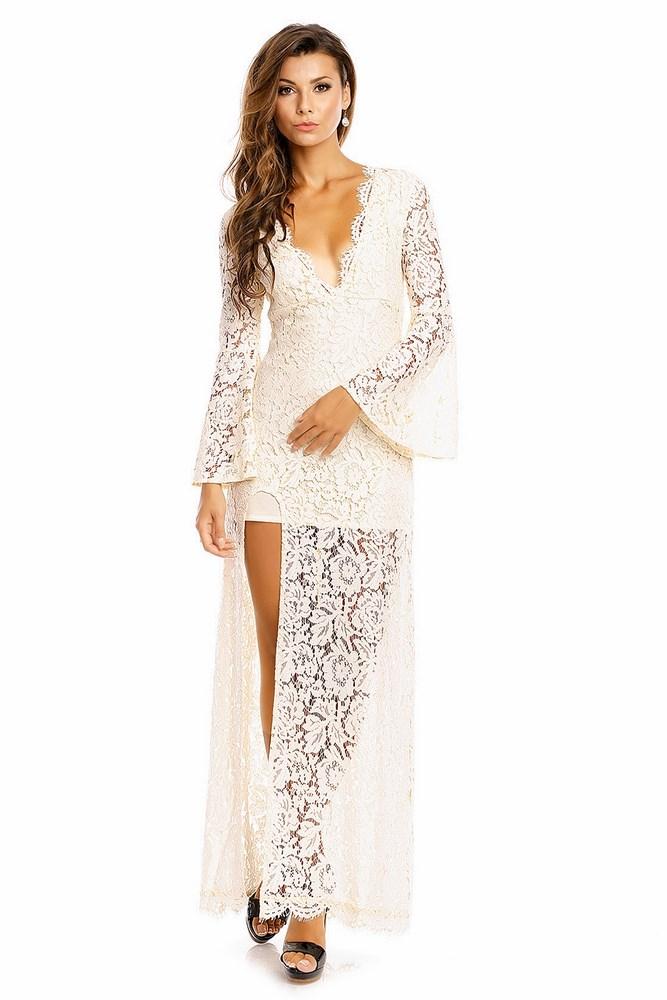 5728ba68c403 Dámske dlhé šaty s čipkou Maya krémové