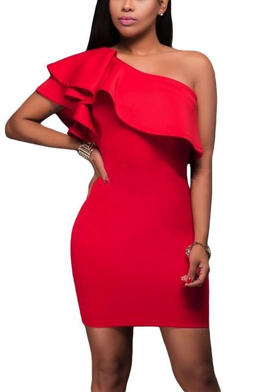 251ee6cb246f Bodycon šaty asymetrické - červené