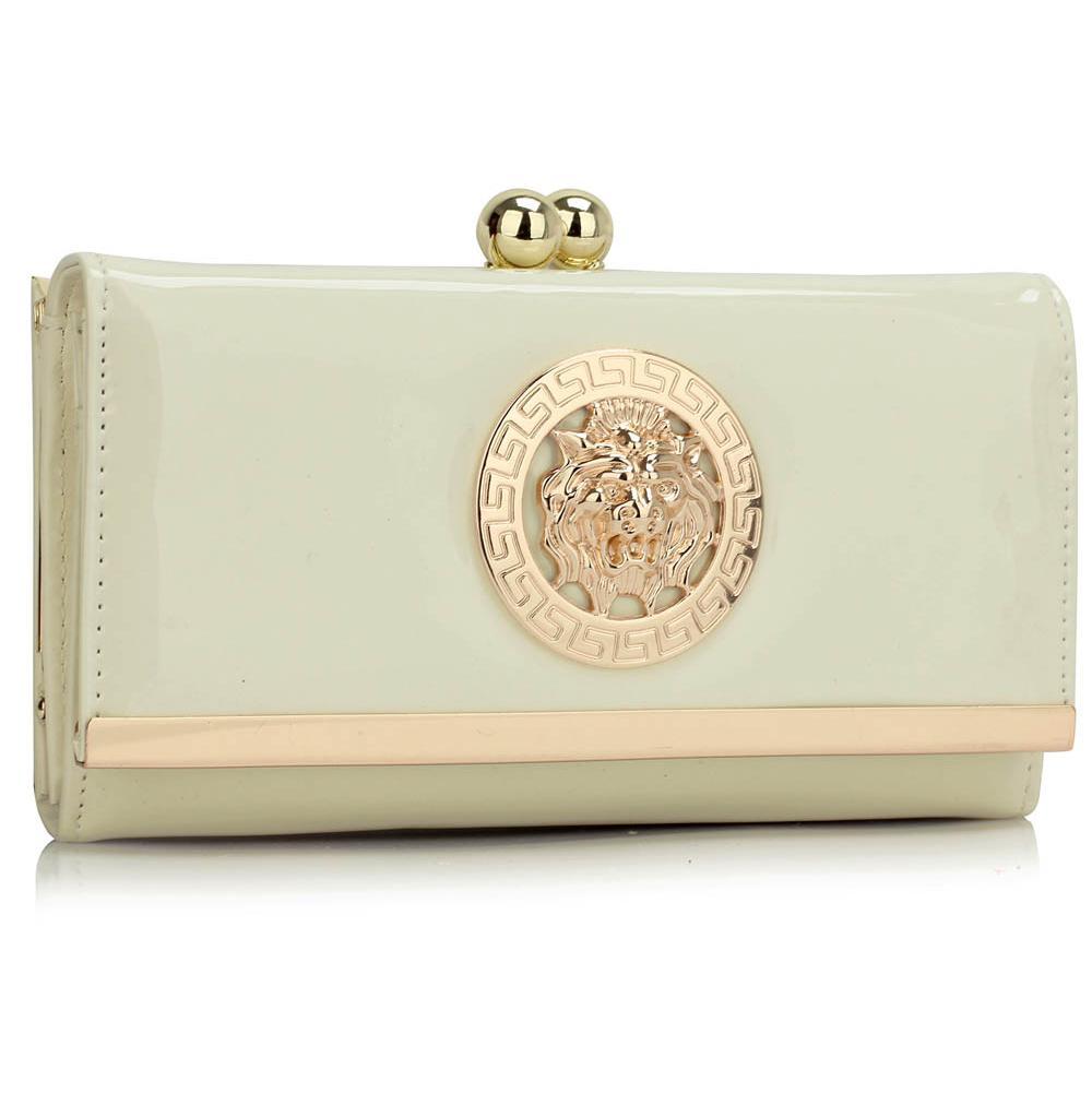 Dámska lakovaná peňaženka krémová 145ee96a4a5