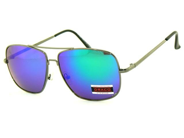 Slnečné okuliare AVIATOR - pilotky šedý kovový rám modré sklá 682611a51f0
