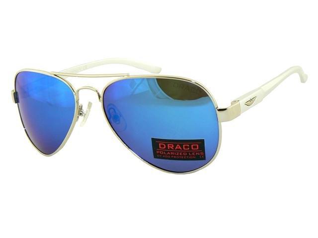 Polarizačné slnečné okuliare AVIATOR - pilotky bielostrieborný rám modré  sklá aba2af1ac21