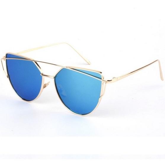 Dámske slnečné okuliare Glam zlatý rám modré sklá ebd1fc8d6dd