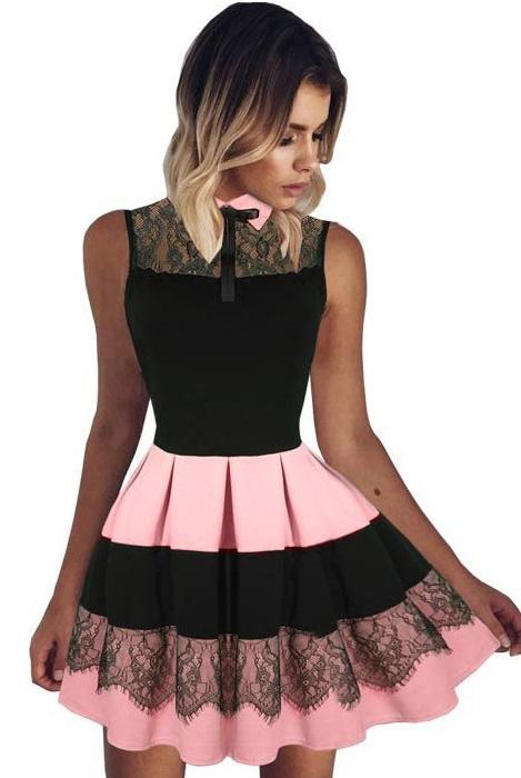 Dámske šaty s čipkou - ružové e4ab41d17a7