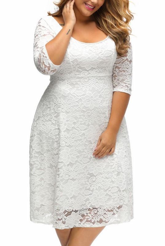 6f37c81b7b7a Čipkované plus size šaty - biele