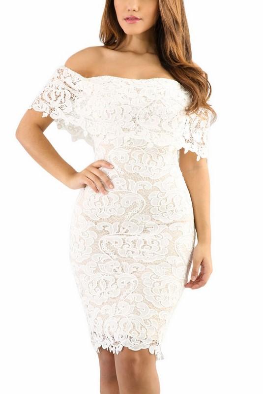 26663fffb62e Čipkované dámske šaty - biele