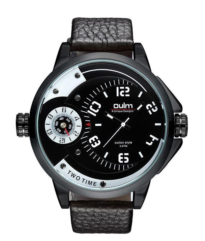 Pánske hodinky Oulm Dual Luxury - čierne biele 6b339bbb3e