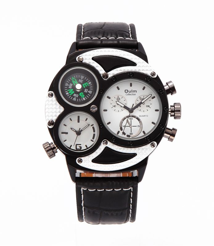 Pánske hodinky Oulm Dual - čierne biele 9ff25918d8