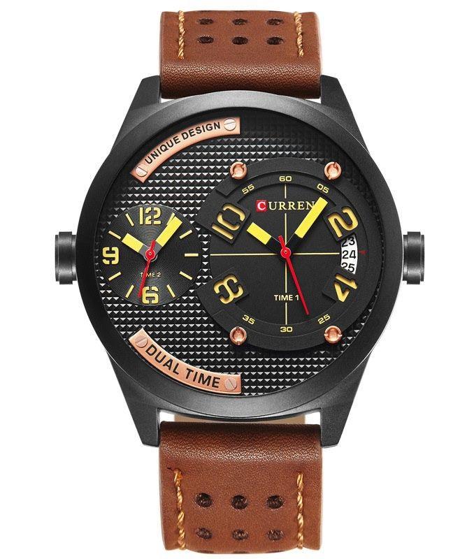 Pánske hodinky CURREN Dual - hnedé 5fc5ecba8d