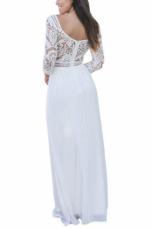 7f69bee62c86 Dlhé dámske šaty s čipkou Marissa - biele
