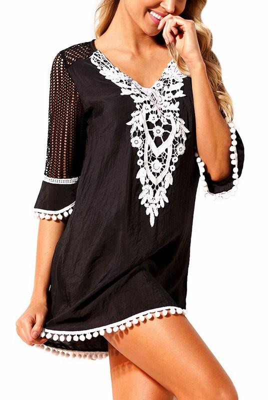 ba72ba782afc Plážové šaty s čipkou - čierne