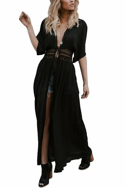 2ac83b0450b4 Dlhé plážové šaty - čierne