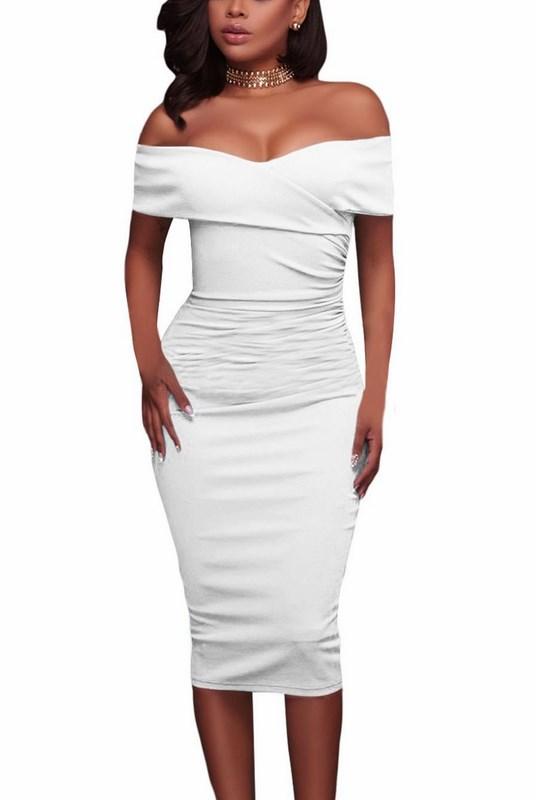 3a0e60f693ca Bodycon dámske šaty Shelby - biele