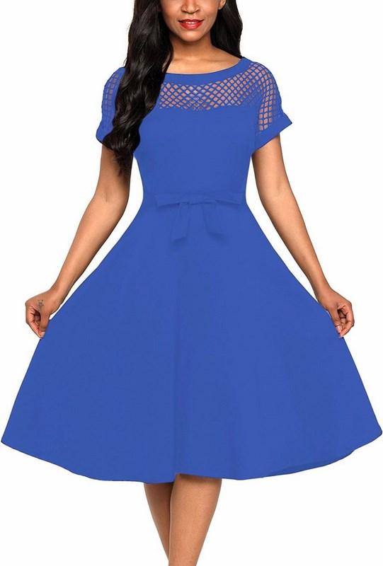 Štýlové dámske šaty Evelyn - modré 130f965cc3