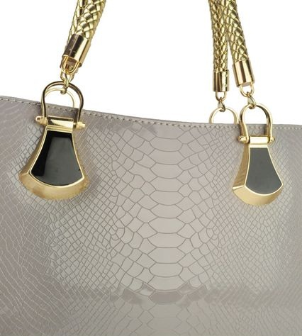 Nádherná lakovaná kabelka Extravagance Crocodile - sivá