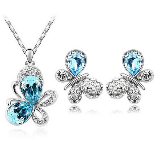 Austrian Crystal SW set Butterfly Ligt Blue