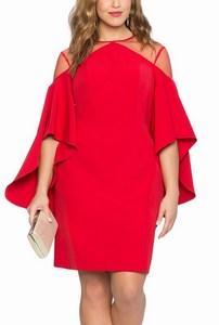 Atraktívne plus size šaty - červené empty b76dcb7de84