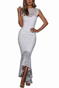 Dlhé čipkované dámske šaty - biele  empty 725c526b089