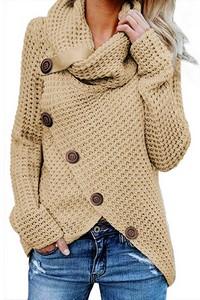 5a8560221922 Moderný asymetrický sveter - béžový empty