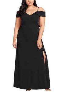 6a2a47bbe99a Dlhé čierne plus size šaty empty