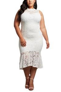 fe31190b211e Biele čipkované plus size šaty empty