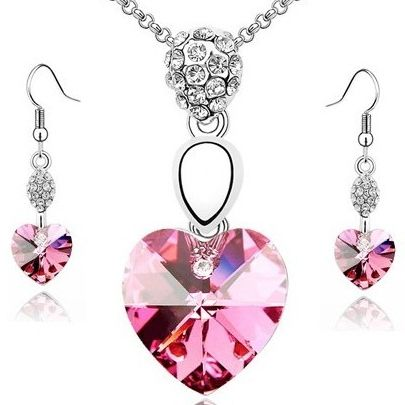 Austrian Crystal SW set Hearts Rose