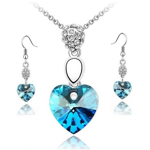 Austrian Crystal SW set Hearts Light Blue