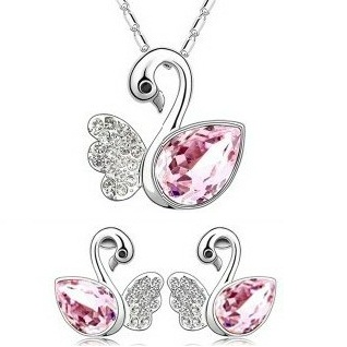 Austrian Crystal SW set Labuť Light Pink