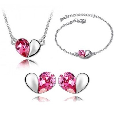 Austrian Crystal SW set Hearts Light Pink