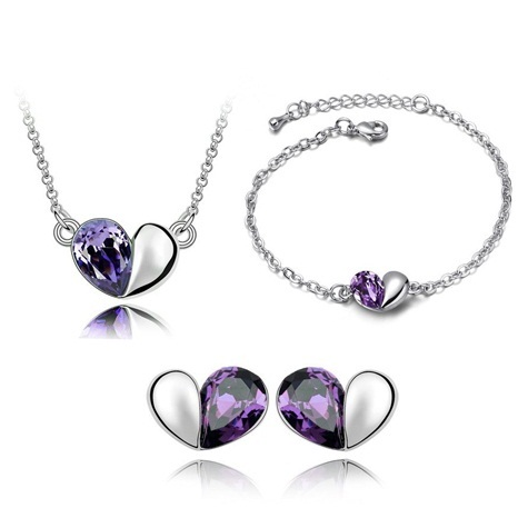Austrian Crystal SW set Hearts Dark Violet