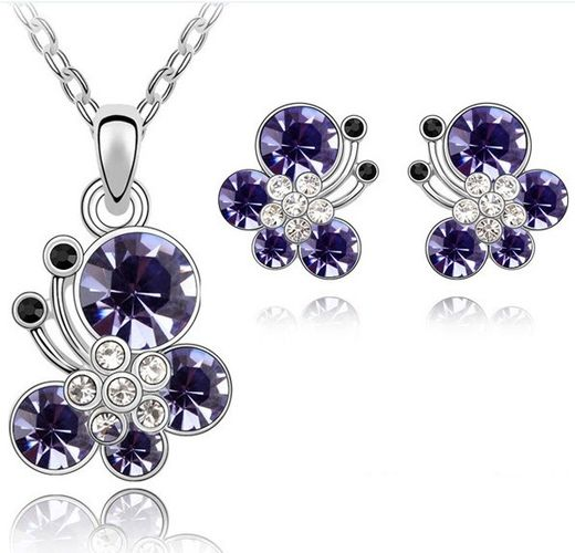 Austrian Crystal SW set Flower Dark Purple