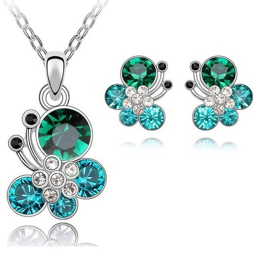 Austrian Crystal SW set Flower Blue Green