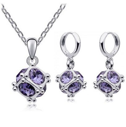 Austrian Crystal SW set Cube - silver purple
