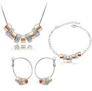 Austrian Crystal SW set Circle + náramok Silver Gold