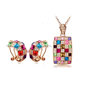 Austrian Crystal SW set Square - Gold