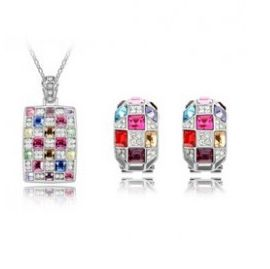Austrian Crystal SW set Square - Silver
