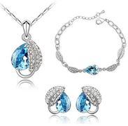 Austrian Crystal SW set Drops + náramok Blue