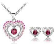 Austrian Crystal SW set Inside Heart - Pink