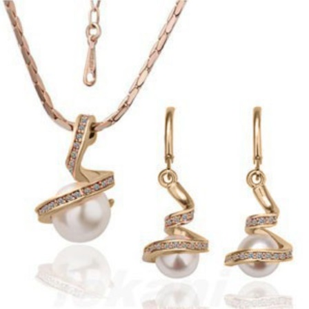 Austrian Crystal SW set Pearls - Gold