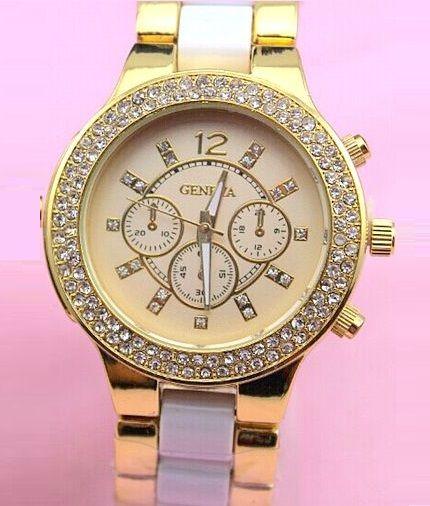 Vykladané dámske hodinky Geneva Stripe - Zlaté White 8175b88296