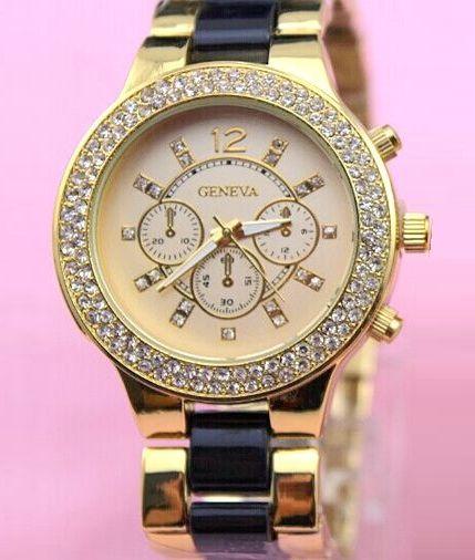 Vykladané dámske hodinky Geneva Stripe - Zlaté Black c04a2734b3