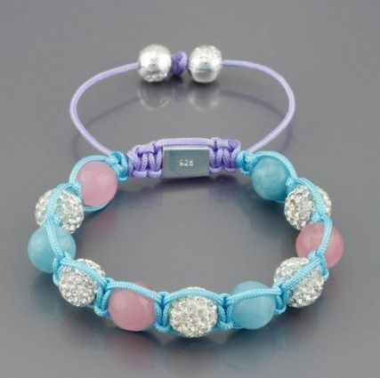 Shamballa náramok Light Blue Pink