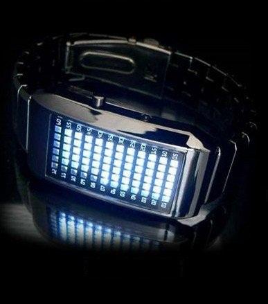 Binárne LED hodinky - Matrix Blue 3727318329d