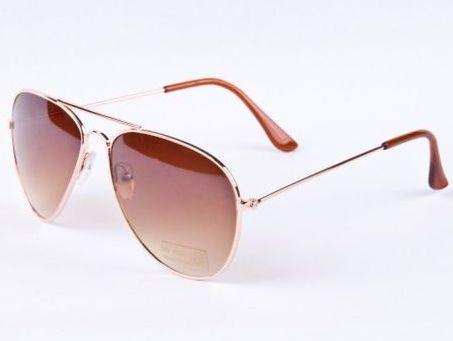 bb0af8f1e Slnečné okuliare AVIATOR - pilotky zlatý rám hnedozlaté sklá postupne  zatmavené