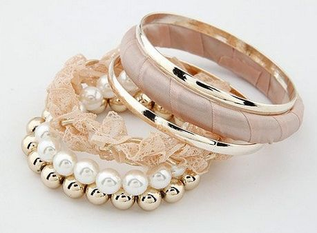 Glam náramok Six PINK - Gold/White Pearl