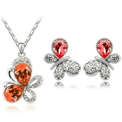 Austrian Crystal SW set Butterfly Orange